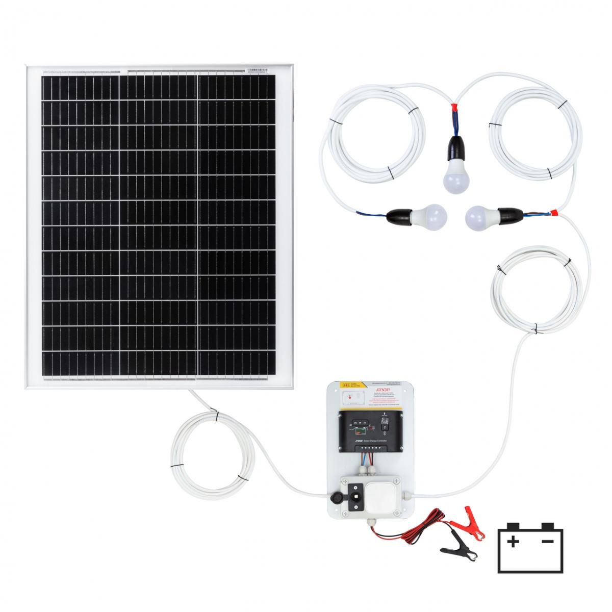 Világításrendszer 50W-os napelemmel és 3 égővel