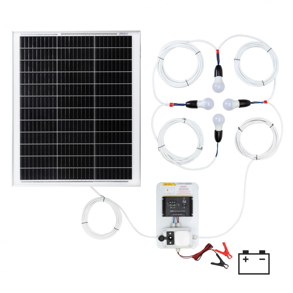 Világításrendszer 50W-os napelemmel és 4 égővel