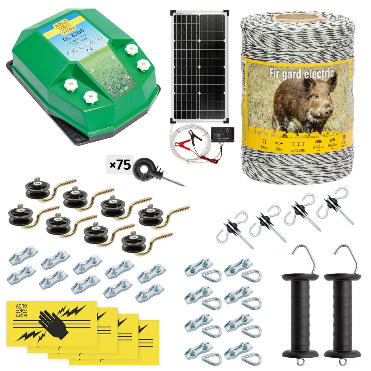 Teljes villanypásztor csomag vadállatoknak, 500m, 3,2Joule, napelemes rendszerrel