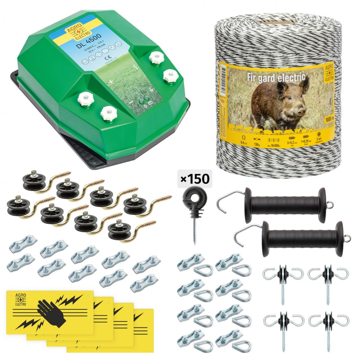 Teljes villanypásztor csomag vadállatoknak, 1000m, 4,5Joule