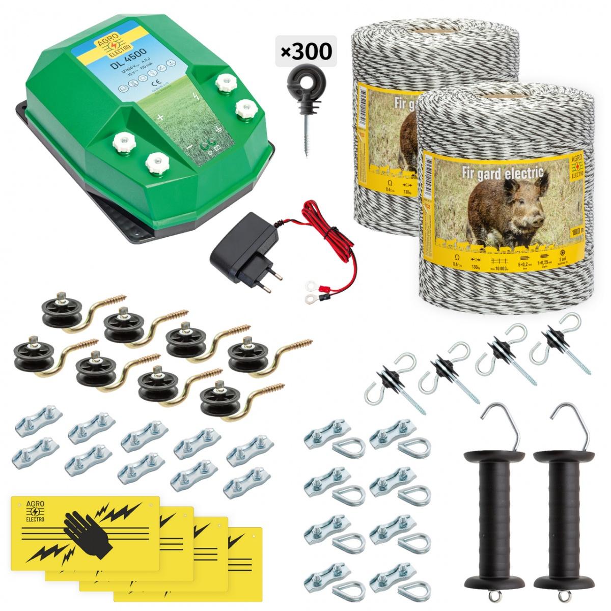 Teljes villanypásztor csomag vadállatoknak, 2000m, 4,5Joule, 230V