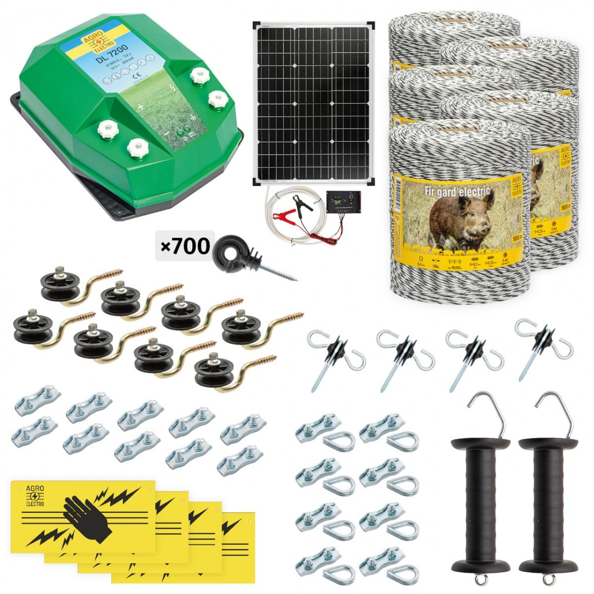Teljes villanypásztor csomag vadállatoknak, 5000m, 7,2Joule, napelemes rendszerrel