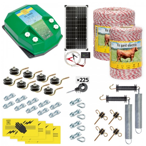 cd-45-1500-s - Teljes villanypásztor csomag háziállatoknak, 1500m, 4,5Joule, napelemes rendszerrel - 105700Ft