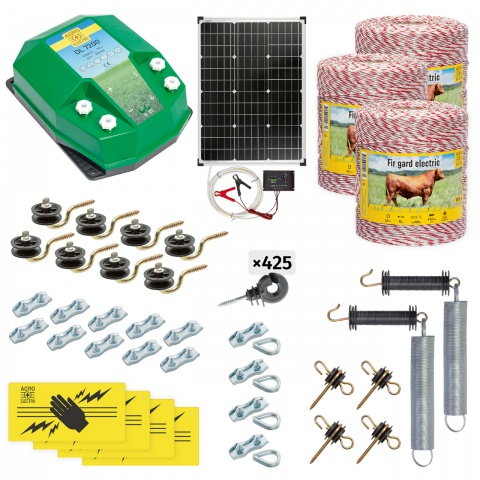 cd-72-3000-s - Teljes villanypásztor csomag háziállatoknak, 3000m, 7,2Joule, napelemes rendszerrel - 140000Ft