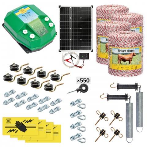cd-72-4000-s - Teljes villanypásztor csomag háziállatoknak, 4000m, 7,2Joule, napelemes rendszerrel - 187200Ft