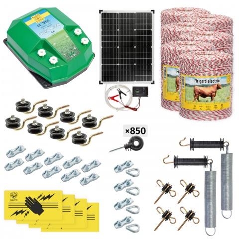 cd-72-6000-s - Teljes villanypásztor csomag háziállatoknak, 6000m, 7,2Joule, napelemes rendszerrel - 206500Ft