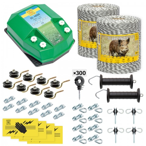 cw-45-2000-0 - Teljes villanypásztor csomag vadállatoknak, 2000m, 4,5Joule - 87200Ft
