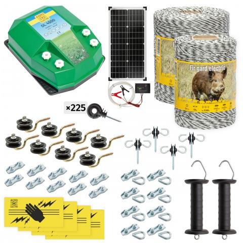 cw-45-1500-s - Teljes villanypásztor csomag vadállatoknak, 1500m, 4,5Joule, napelemes rendszerrel - 102000Ft