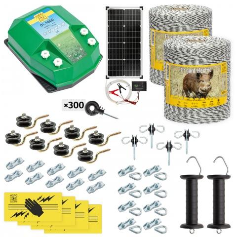 cw-45-2000-s - Teljes villanypásztor csomag vadállatoknak, 2000m, 4,5Joule, napelemes rendszerrel - 123700Ft