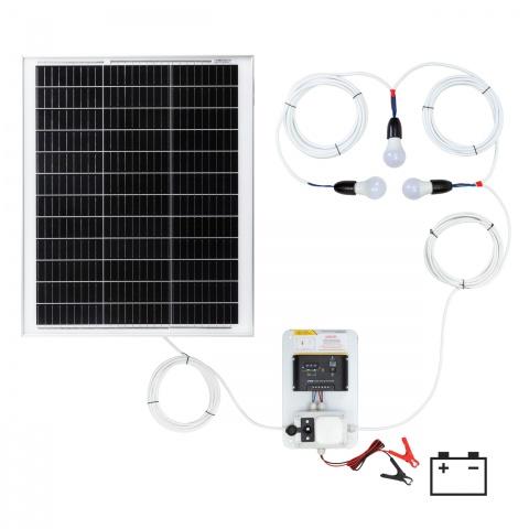 0146-3 - Világításrendszer 50W-os napelemmel és 3 égővel - 46200Ft