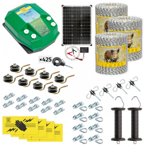 cw-72-3000-s - Teljes villanypásztor csomag vadállatoknak, 3000m, 7,2Joule, napelemes rendszerrel - 154000Ft