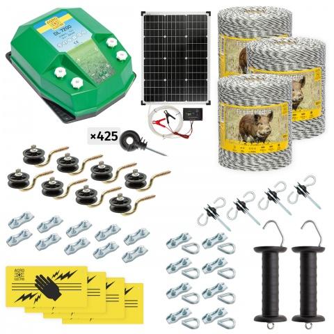 cw-72-3000-s - Teljes villanypásztor csomag vadállatoknak, 3000m, 7,2Joule, napelemes rendszerrel - 157500Ft