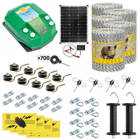 cw-72-5000-s - Teljes villanypásztor csomag vadállatoknak, 5000m, 7,2Joule, napelemes rendszerrel - 204500Ft