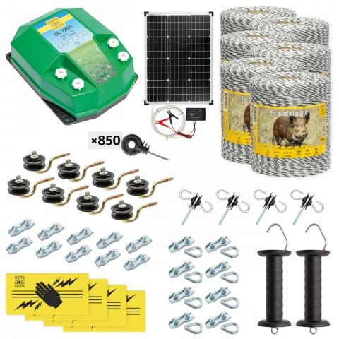 cw-72-6000-s - Teljes villanypásztor csomag vadállatoknak, 6000m, 7,2Joule, napelemes rendszerrel - 237000Ft