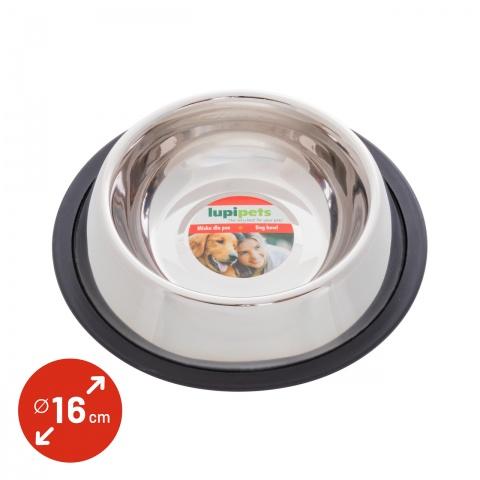 0339 - Inox etetőtál kutyáknak, Ø16 cm, 450 ml - 710Ft