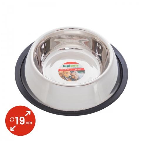 0340 - Inox etetőtál kutyáknak, Ø19 cm, 900 ml - 1300Ft