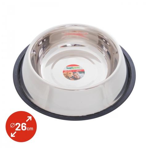 0342 - Inox etetőtál kutyáknak, Ø26 cm, 2700 ml - 2200Ft