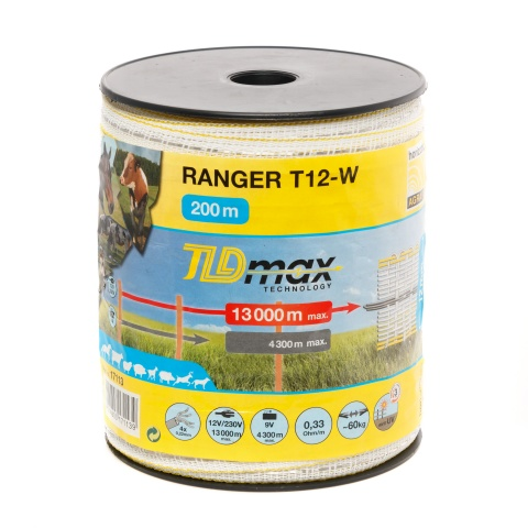 0071 - Villanypásztor szalag - 12mm - 200m - 60kg - 0,33Ω/m - 5000Ft