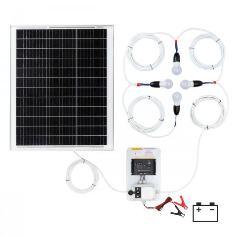 0146-4 - Világításrendszer 50W-os napelemmel és 4 égővel - 50000Ft