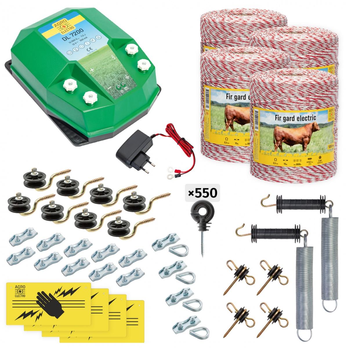 Teljes villanypásztor csomag háziállatoknak, 4000m, 7,2Joule, 230V