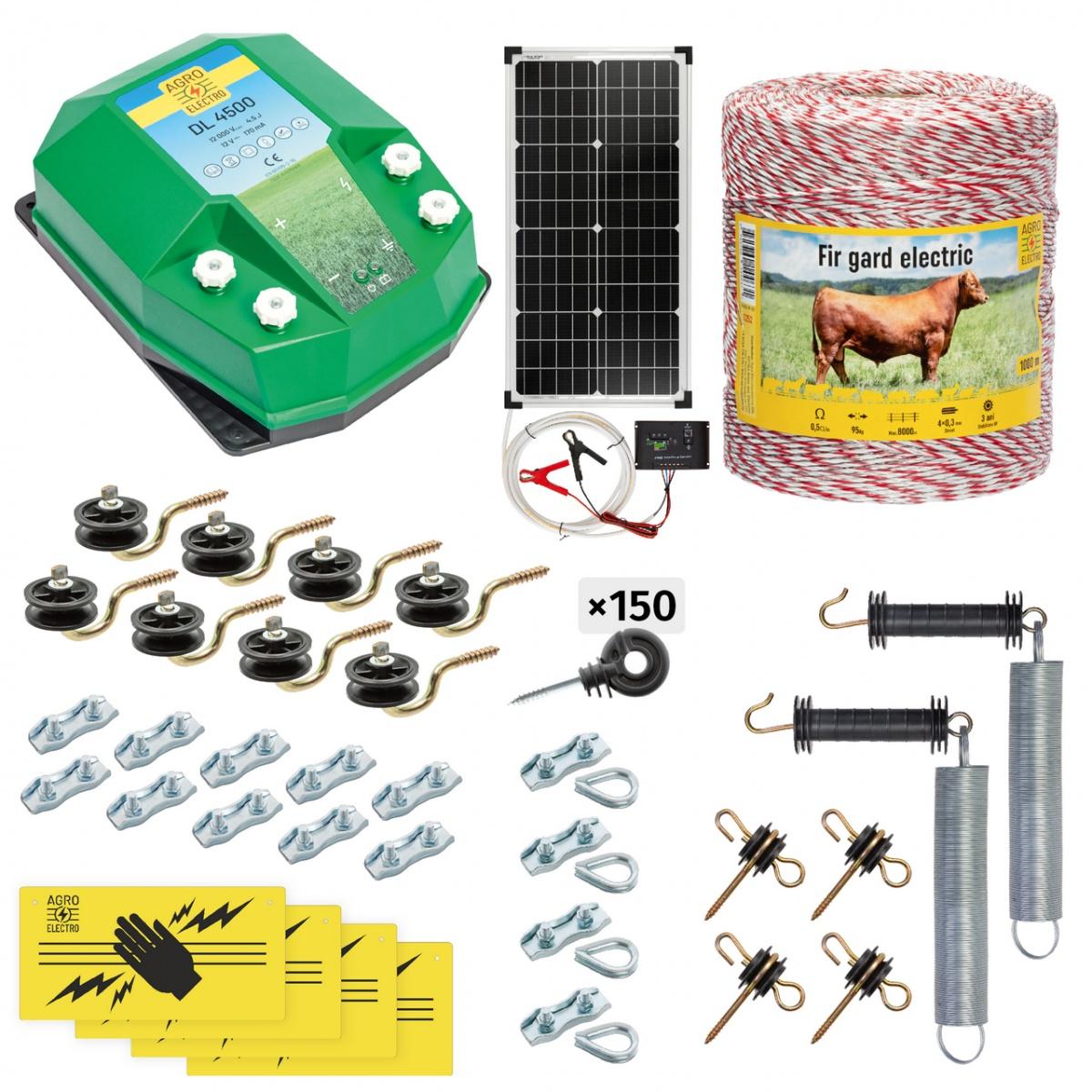 Teljes villanypásztor csomag háziállatoknak, 1000m, 4,5Joule, napelemes rendszerrel