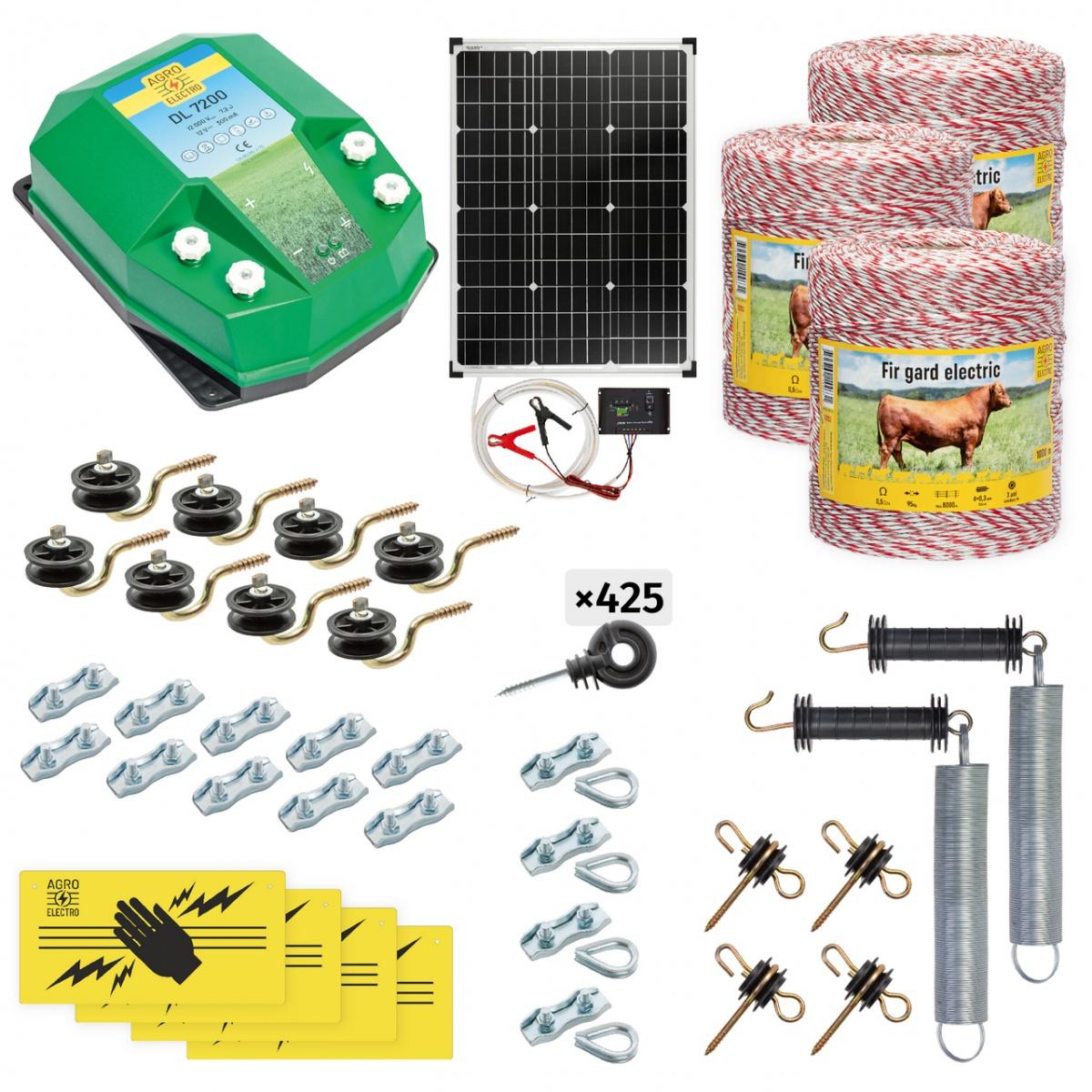 Teljes villanypásztor csomag háziállatoknak, 3000m, 7,2Joule, napelemes rendszerrel