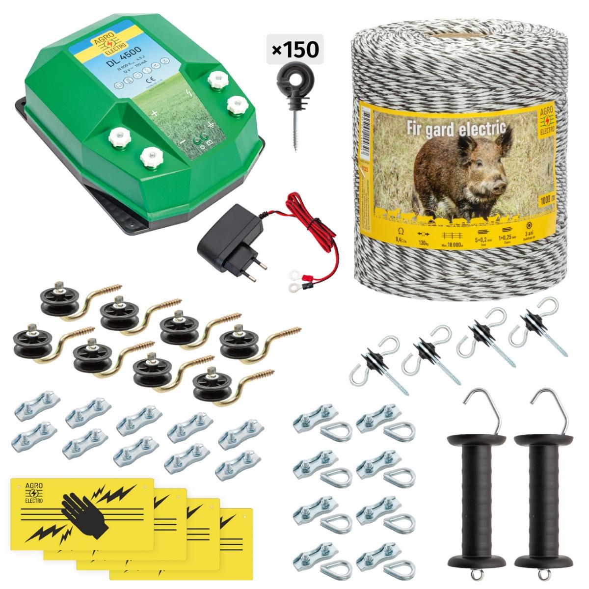 Teljes villanypásztor csomag vadállatoknak, 1000m, 4,5Joule, 230V