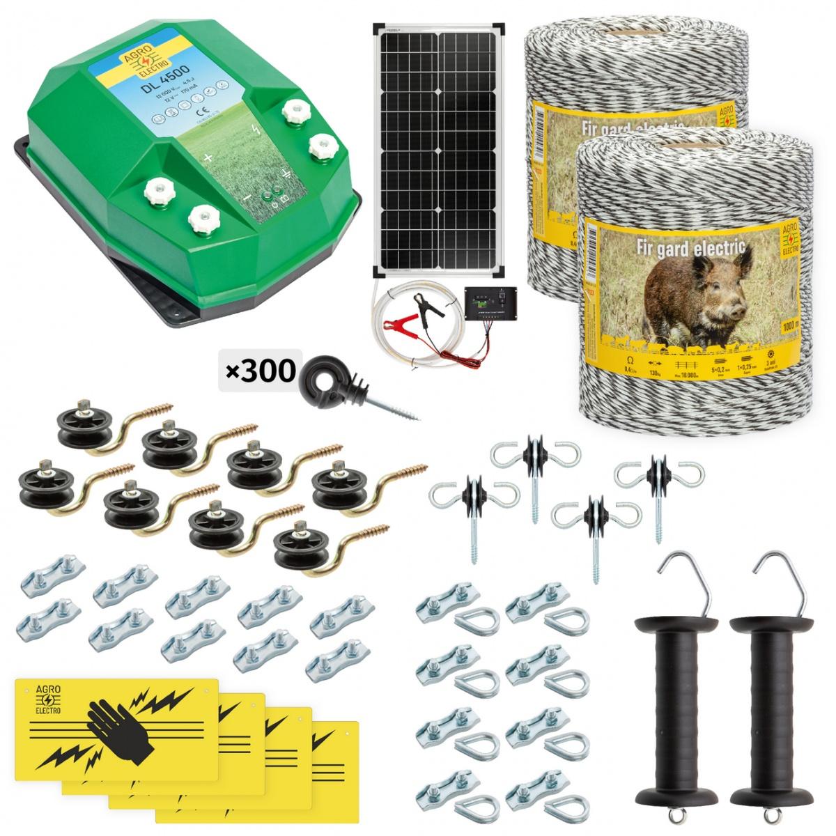 Teljes villanypásztor csomag vadállatoknak, 2000m, 4,5Joule, napelemes rendszerrel