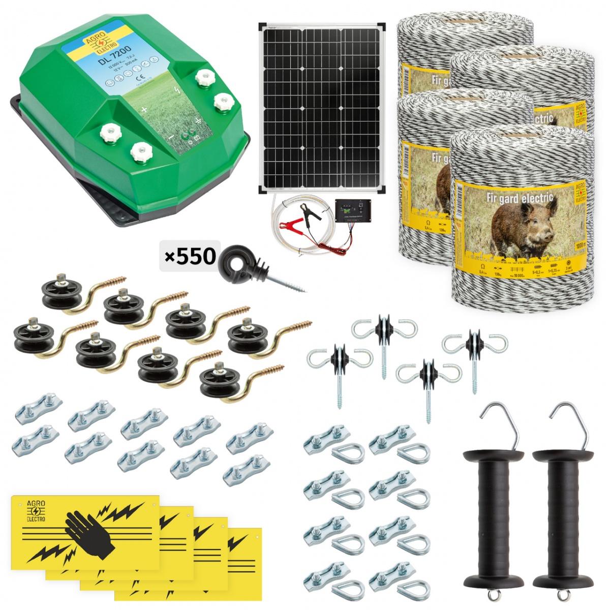 Teljes villanypásztor csomag vadállatoknak, 4000m, 7,2Joule, napelemes rendszerrel