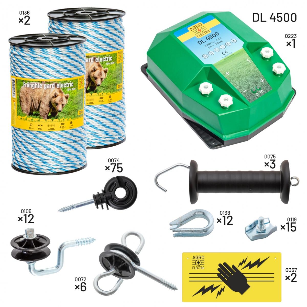 Villanypásztor csomag méhészeknek. DL4500-as készülékkel, 12V-os táplálással