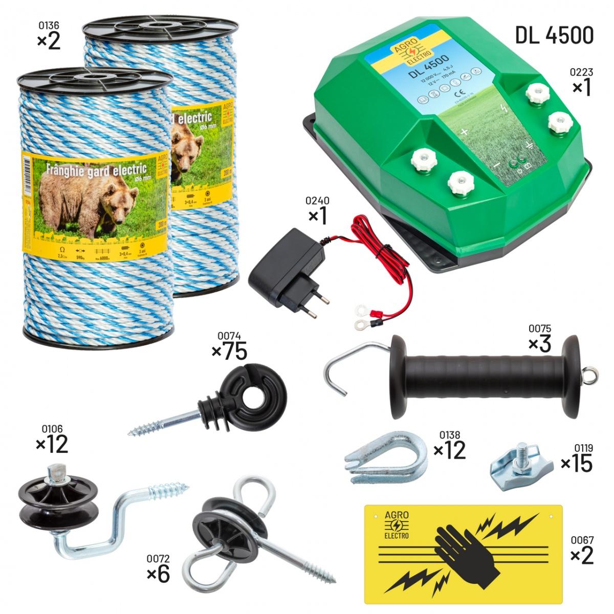 Villanypásztor csomag méhészeknek. DL4500-as készülékkel, 230V-os táplálással