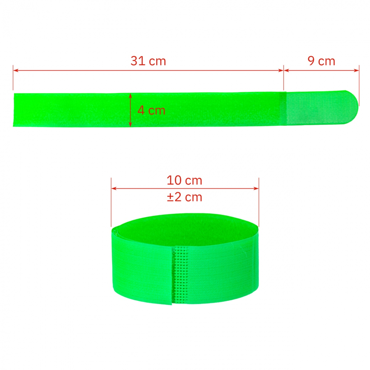 Tépőzáras bokaszalag szarvasmarháknak, zöld + sárga, 400×40mm