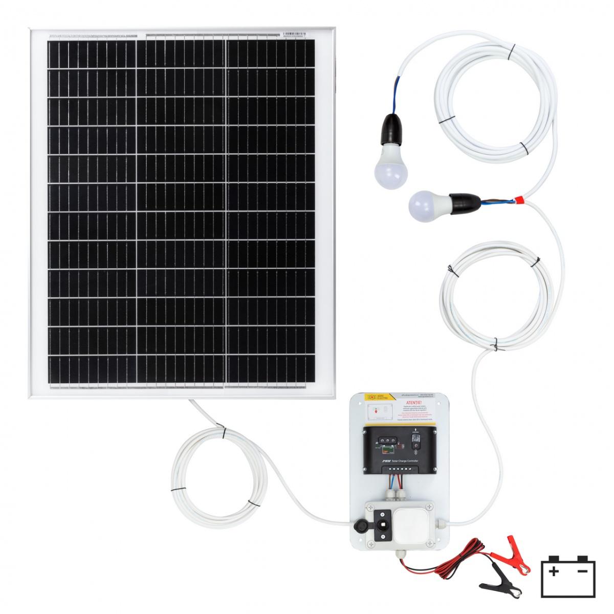 Világításrendszer 50W-os napelemmel és 2 égővel